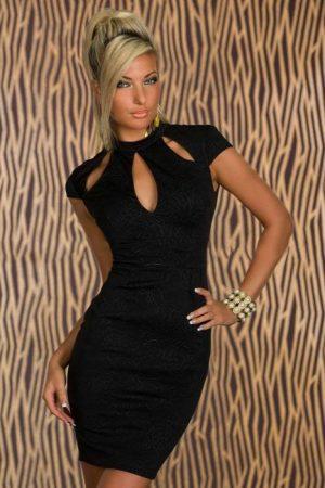 Szexy fekete ruha dombornyomott mintázattal