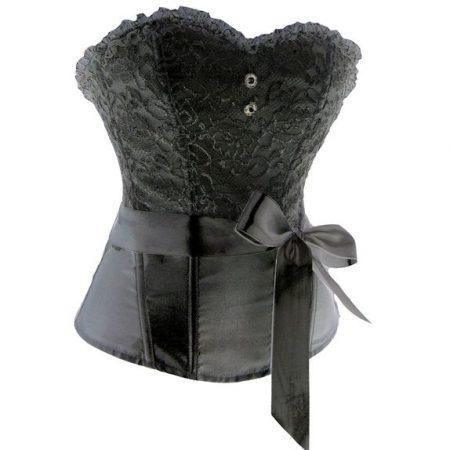 Elegáns, fekete szatén fűző - corset