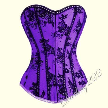 Elegáns csipke virágokkal díszített fűző - corset