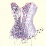 Mintás, kék - rózsaszín fűző - corset