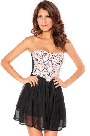 Szexy fekete-fehér, szív alakú nyári ruha