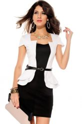 Elegáns, fekete-fehér alkalmi ruha övvel