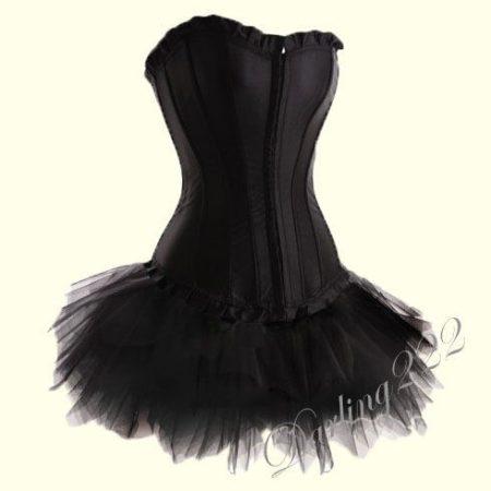 Fekete szatén fűző , fekete tűll szoknyával