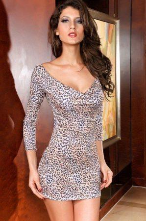 Leopárd mintás, kettős hátkivágású party ruha