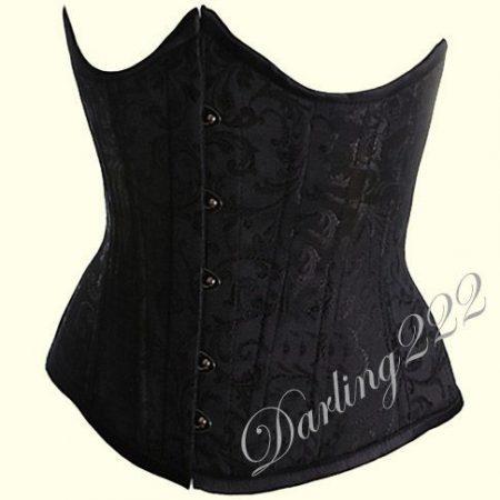 Mell alatti, fekete hímzett fűző - corset