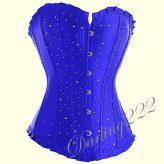 Kék szatén fűző, Strassz kövekkel - corset