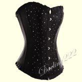 Fekete szatén fűző, Strassz kövekkel - corset