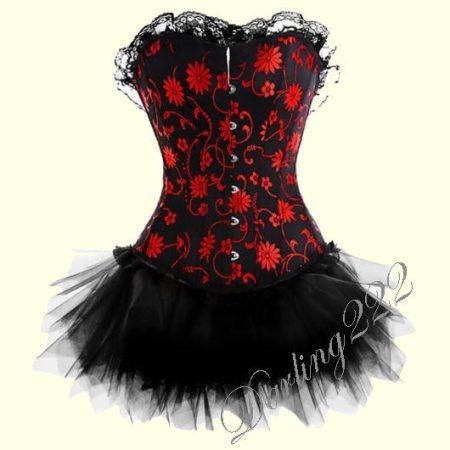 Piros virágmintás fűző fekete tüll szoknyával.