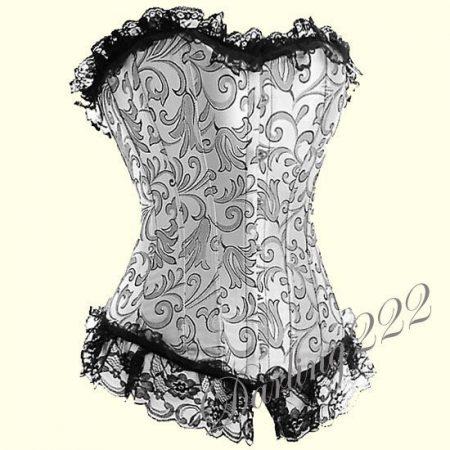 Elegáns, hímzett szatén fűző - corset