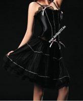Elegáns, fekete szatén fűző szoknyával - corset
