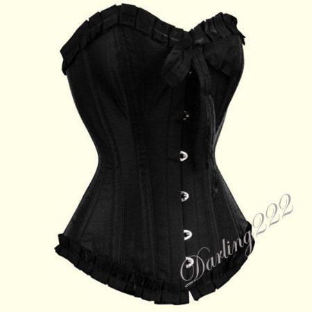 Nagyon elegáns fekete szatén fűző - corset