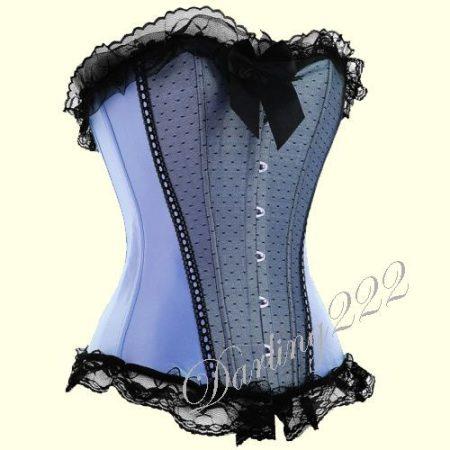 Nagyon elegáns, halvány kék szatén fűző - corset