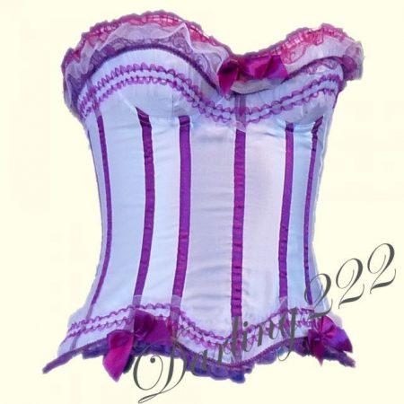 Csini, fehér-lila masnis fűző - corset