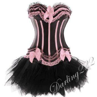 Csini, fekete - rózsaszín masnis fűző - corset tűll szoknyával