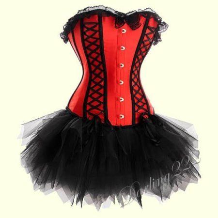 Piros - fekete szexy fűző, fekete tűll szoknyával
