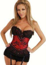 Nagyon elegáns piros - fekete csipkebetétes fűző - corset