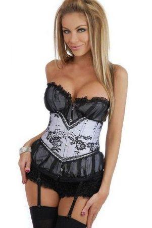 Nagyon elegáns fehér - fekete csipkebetétes fűző - corset