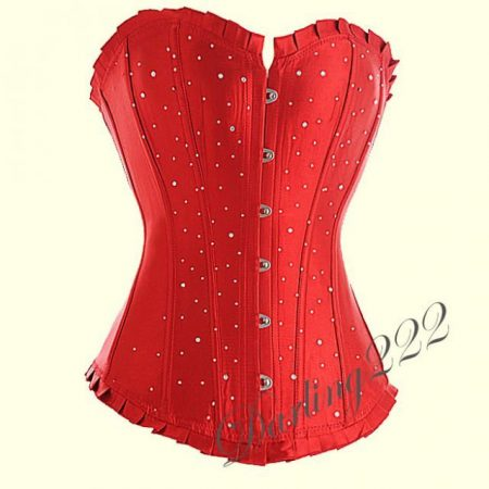 Piros szatén fűző, Strassz kövekkel - corset