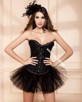 Elegáns, fekete hímzett fűző - corset Strassz-kövekkel