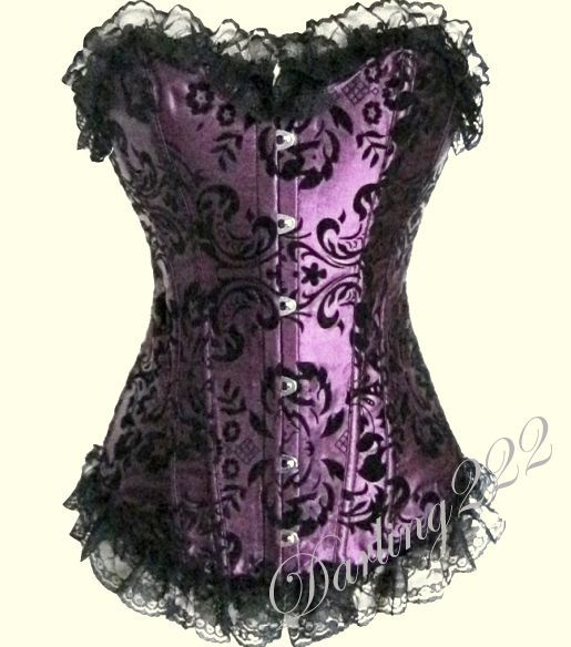 Bársonyos levél mintákkal díszített lila fűző - corset