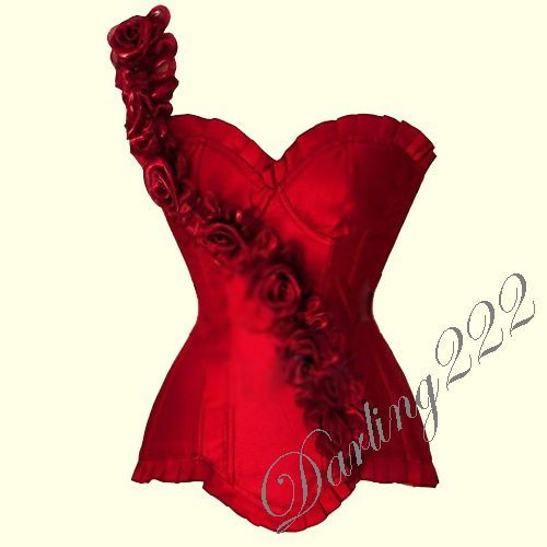 Elegáns, piros színű, félvállas fűző - corset.