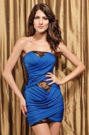 Conga Blue  színű, csipke bélésű party ruha