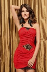 Conga Red  színű, csipke bélésű party ruha