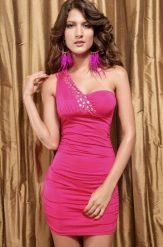 Ékszerekkel díszített pink party ruha