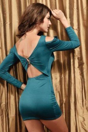 Sötét zöld party ruha gyönyörű hátkapoccsal.