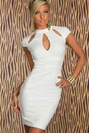 Szexy fehér ruha dombornyomott mintázattal