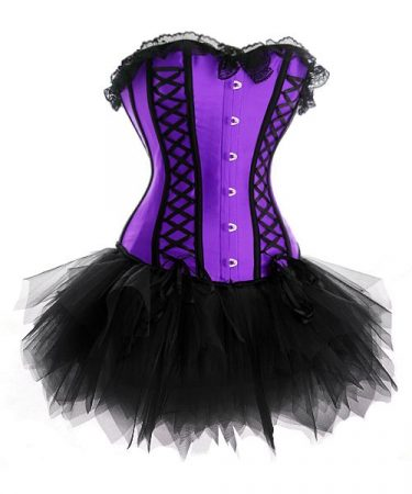 Lila - fekete szexy fűző - corset