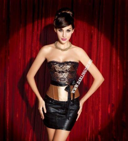 Elegáns, kávé-barna szatén fűző - corset