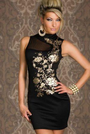 Szexy mini ruha arany virágmintákkal