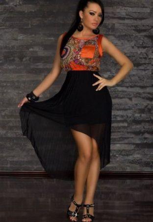Elengáns sifon party ruha kísérő szoknyával
