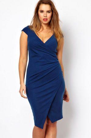 Kék midi ruha klasszikus kivágással (xxl)