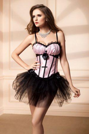 Sexy pink - fekete fűző - corset