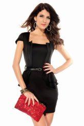 Elegáns, fekete alkalmi ruha övvel