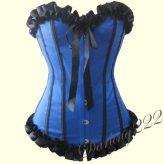 Gyönyörű, kék szatén fűző - corset