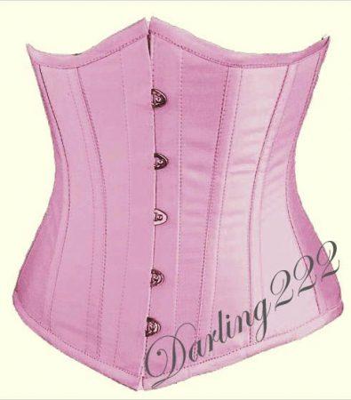 Mell alatti, rózsaszín szatén fűző - corset