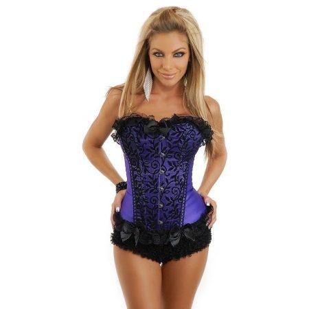Elegáns lila csipke rátétes fűző  - corset