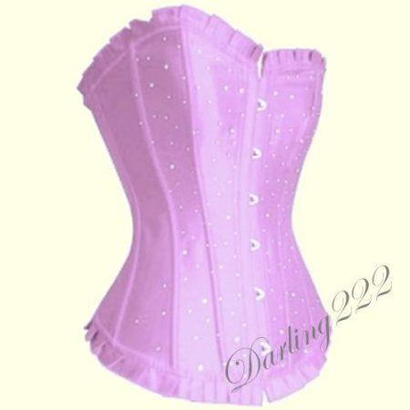 Halvány lila szatén fűző, Strassz kövekkel - corset