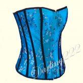 Szexy virágmintás kék fűző - corset